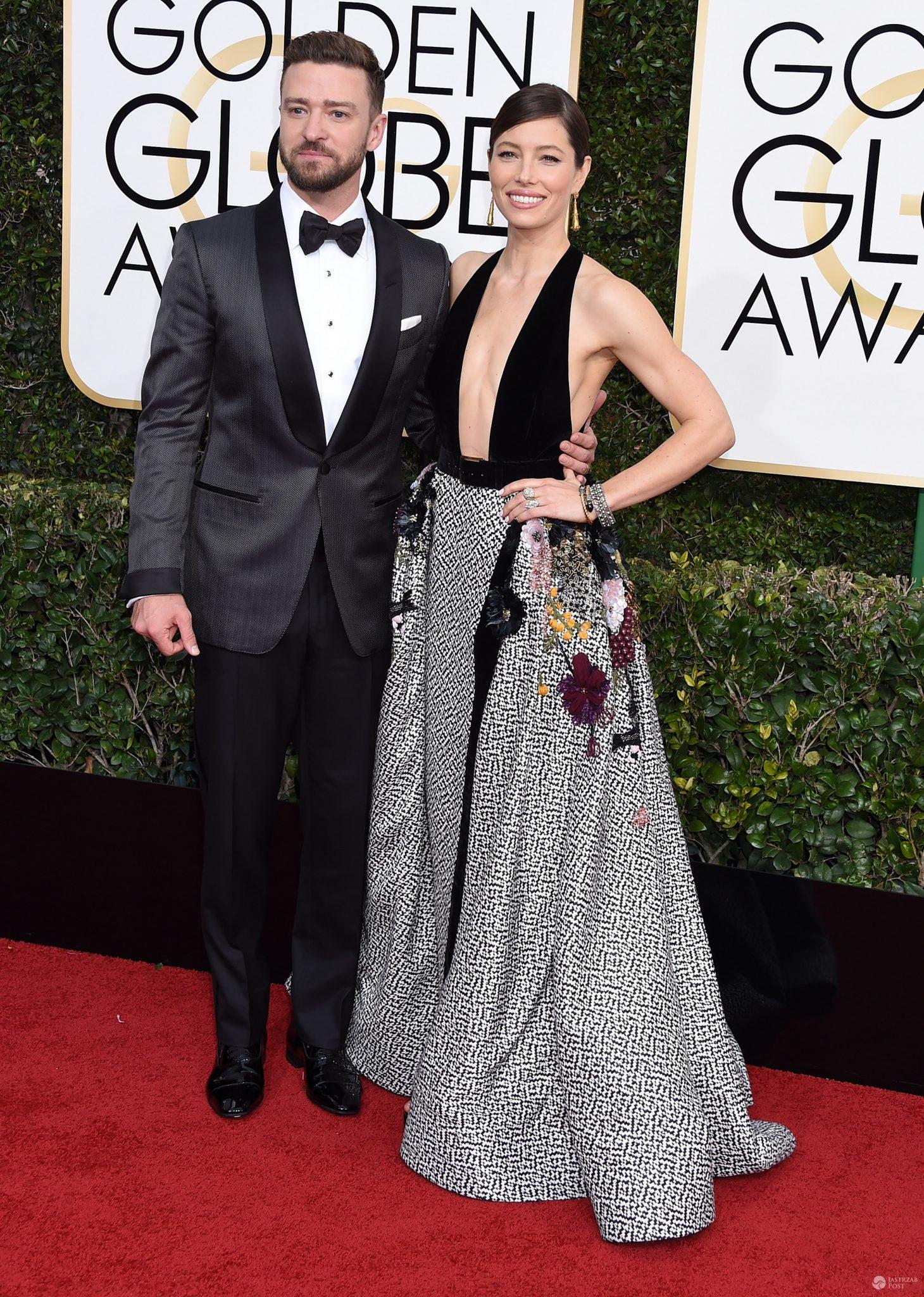 Jessica Biel w kreacji Elie Saab Haute Couture i Justin Timberlake w garniturze Tom Ford - Złote Globy 2017