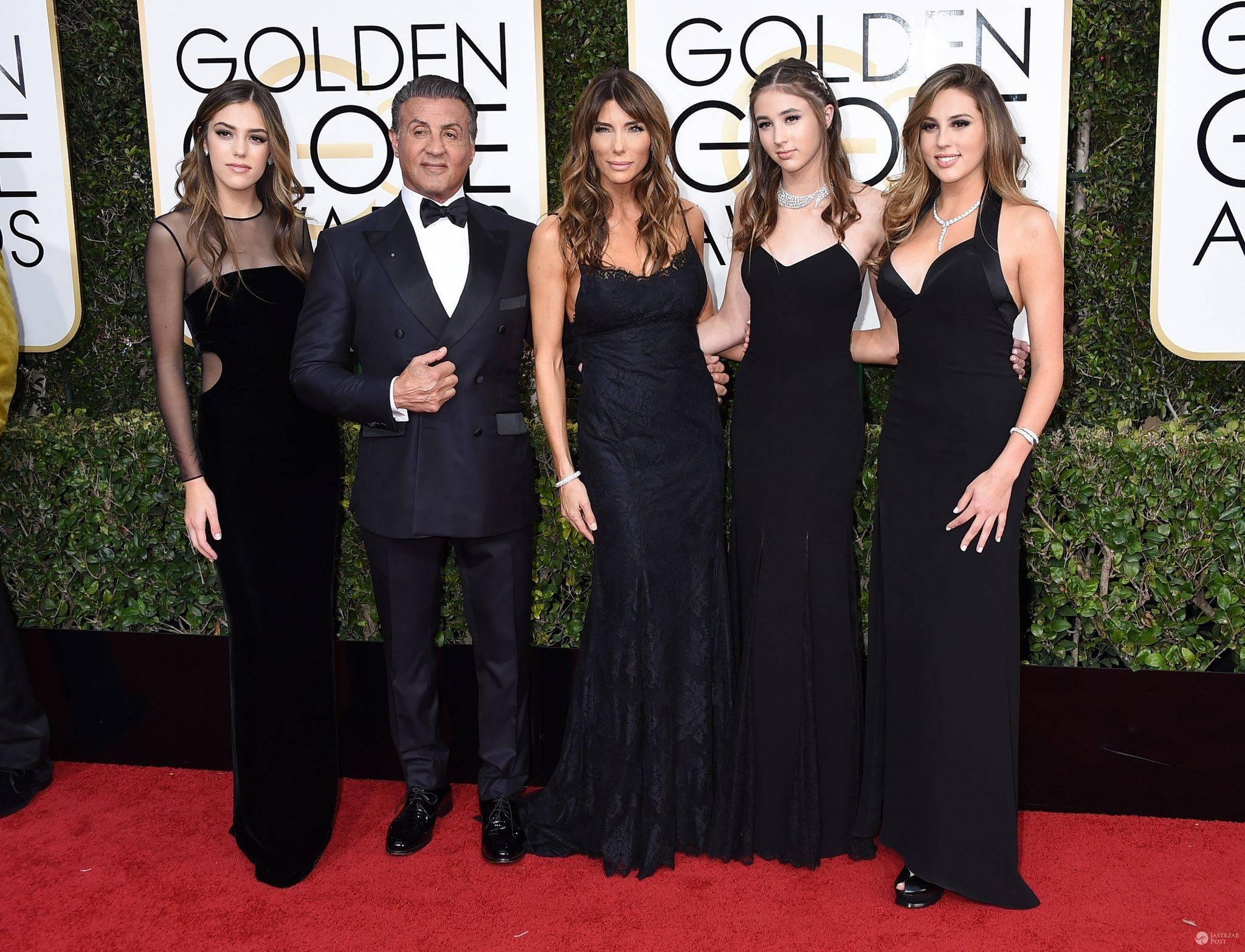 Sylvester Stalone i Jennifer Flavin z córkami - Złote Globy 2017