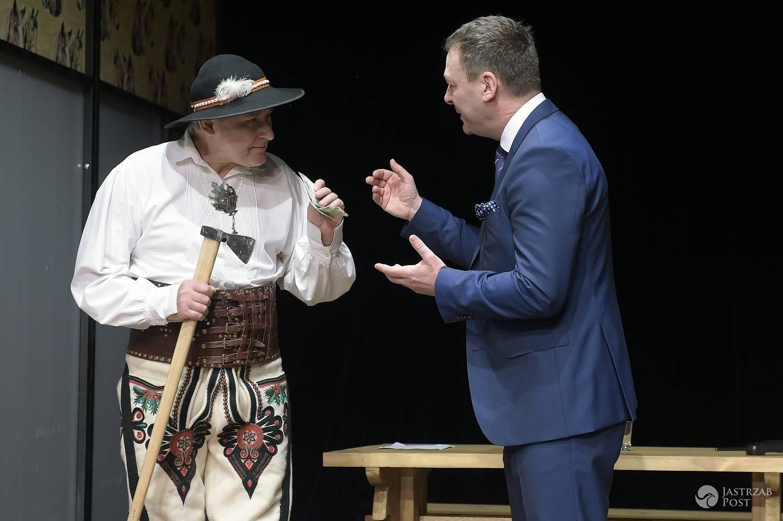 Piotr Skarga, Jacek Rozenek - próba medialna spektaklu SPA, czyli salon ponętnych alternatyw w Teatrze Kamienica