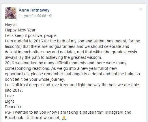 Anne Hathaway wpis na Facebooku