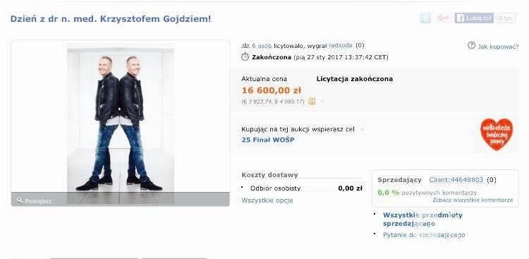 Aukcja WOŚP 2017 z doktorem Krzysztofem Gojdziem