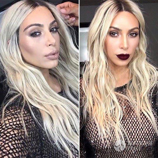 Kim Kardashian blondynką - fryzura 2017