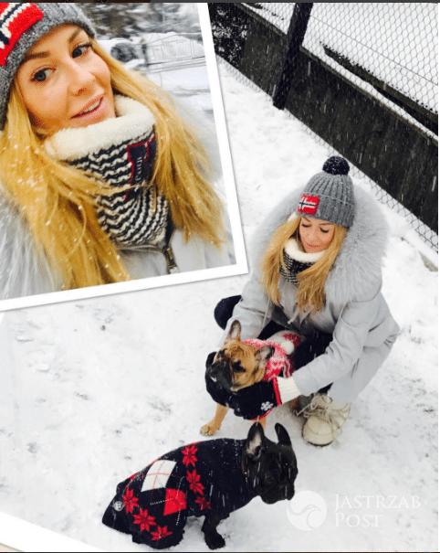 Małgorzata Rozenek na zimowym spacerze