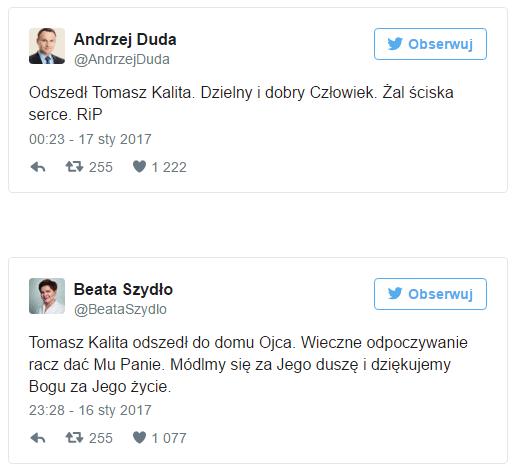 Andrzej Duda i Beata Szydło pożegnali Tomasza Kalitę