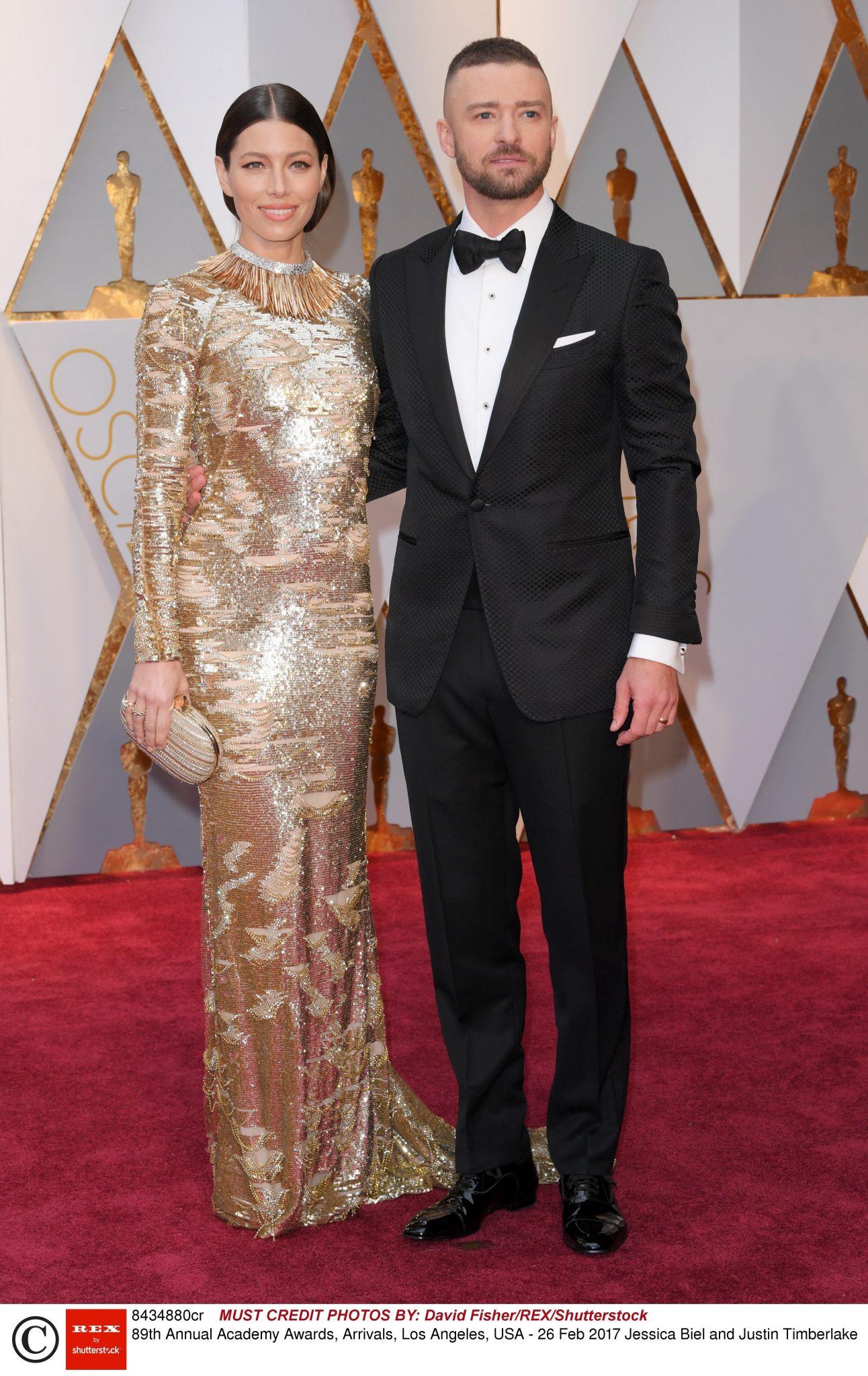 Jessica Biel (kreacja: Kaufman Franco) i Justin Timberlake - Oscary 2017