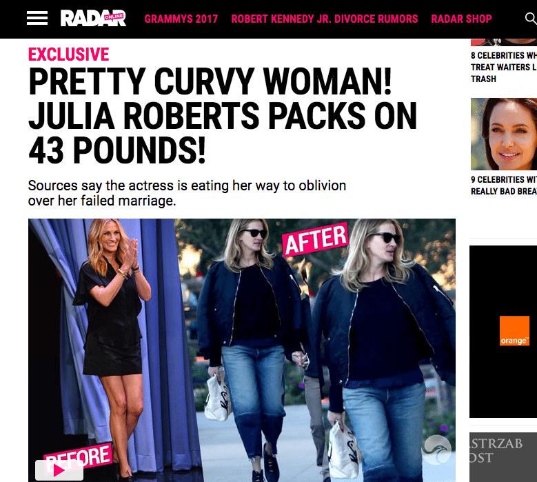Julia Roberts przytyła 20 kilo