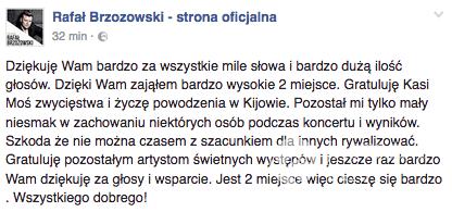 Rafał Brzozowski komentuje wygwizdanie przez publiczność