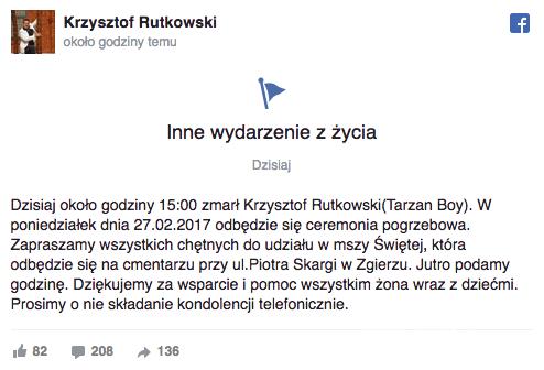 Krzysztof Rutkowski Tarzan Boy nie żyje