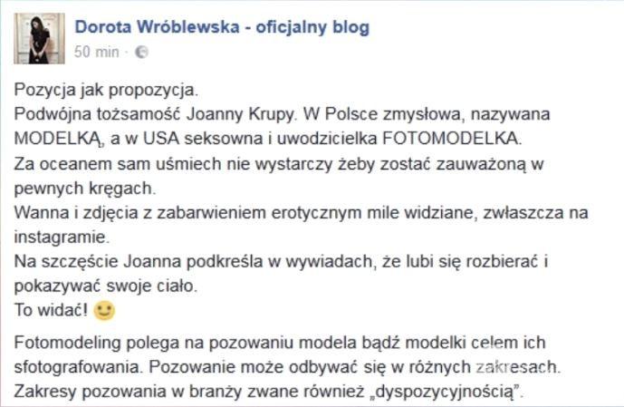 Dorota Wróblewska o Joannie Krupie