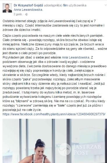 Krzysztof Gojdź komentuje ciążę Anny Lewandowskiej