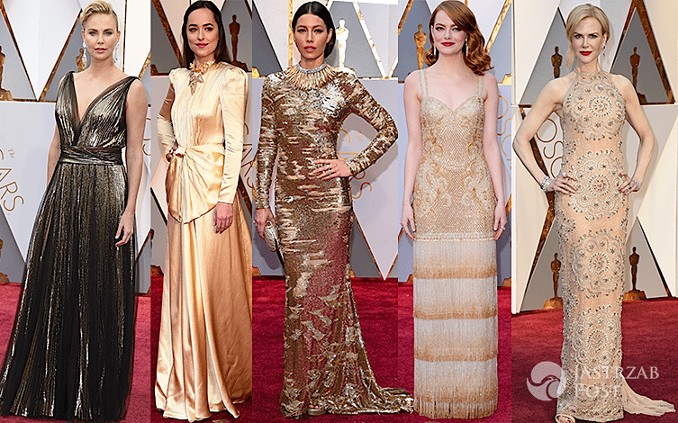 Oscary 2017 złote sukienki kreacje