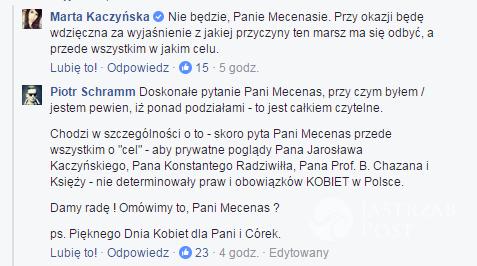 Marta Kaczyńska i Piotr Schramm rozmawiają na Facebooku