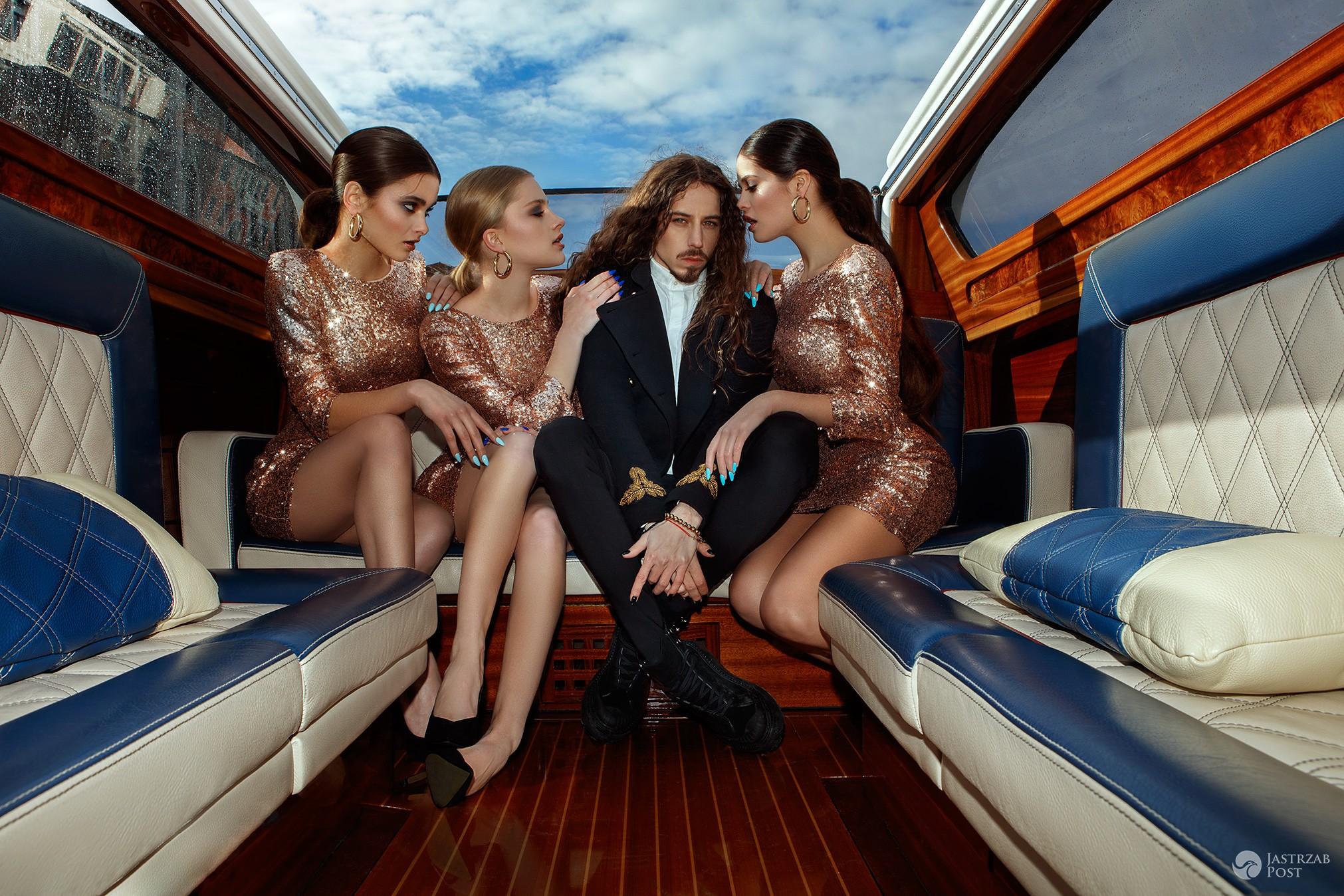 Michał Szpak z modelkami w Wenecji w reklamie Nails Company