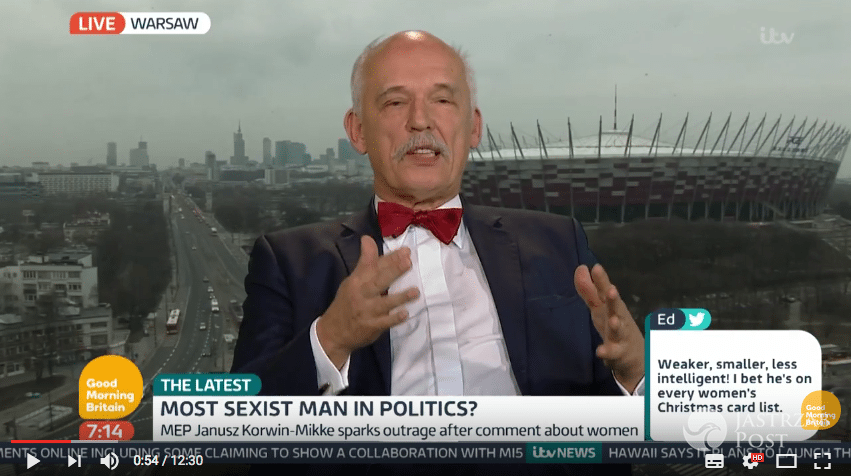 Janusz Korwin-Mikke w brytyjskiej telewizji obraża kobiety