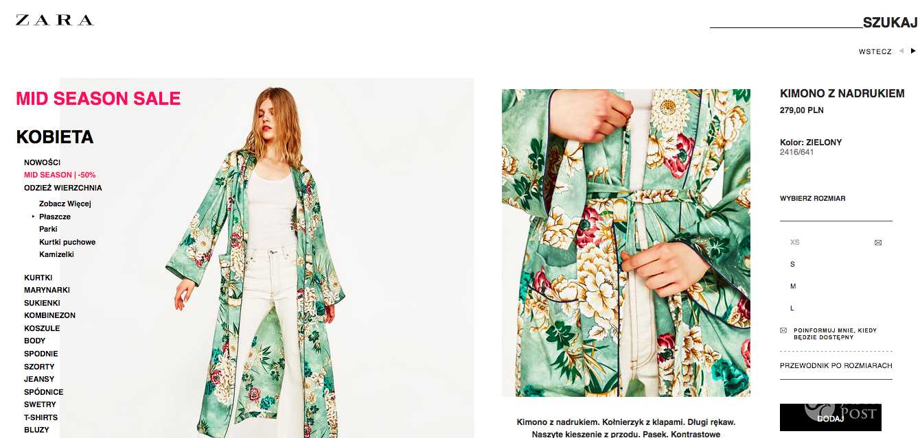 Zosia Ślotała ma kimono z Zary
