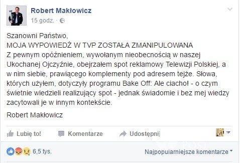 Oświadczenie Roberta Makłowicza o spocie TVP
