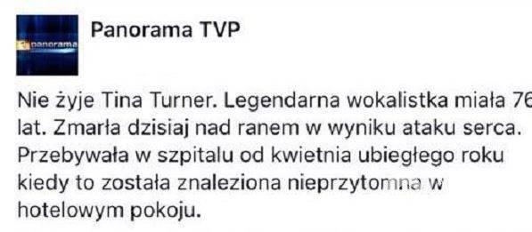 Panorama uśmierciła Tinę Turner