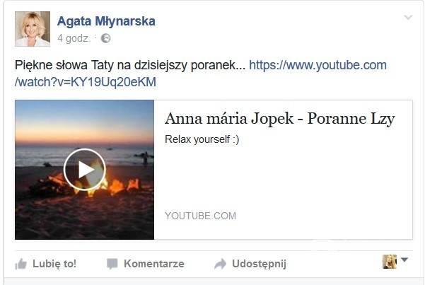 Agata Młynarska żegna tatę na Facebooku