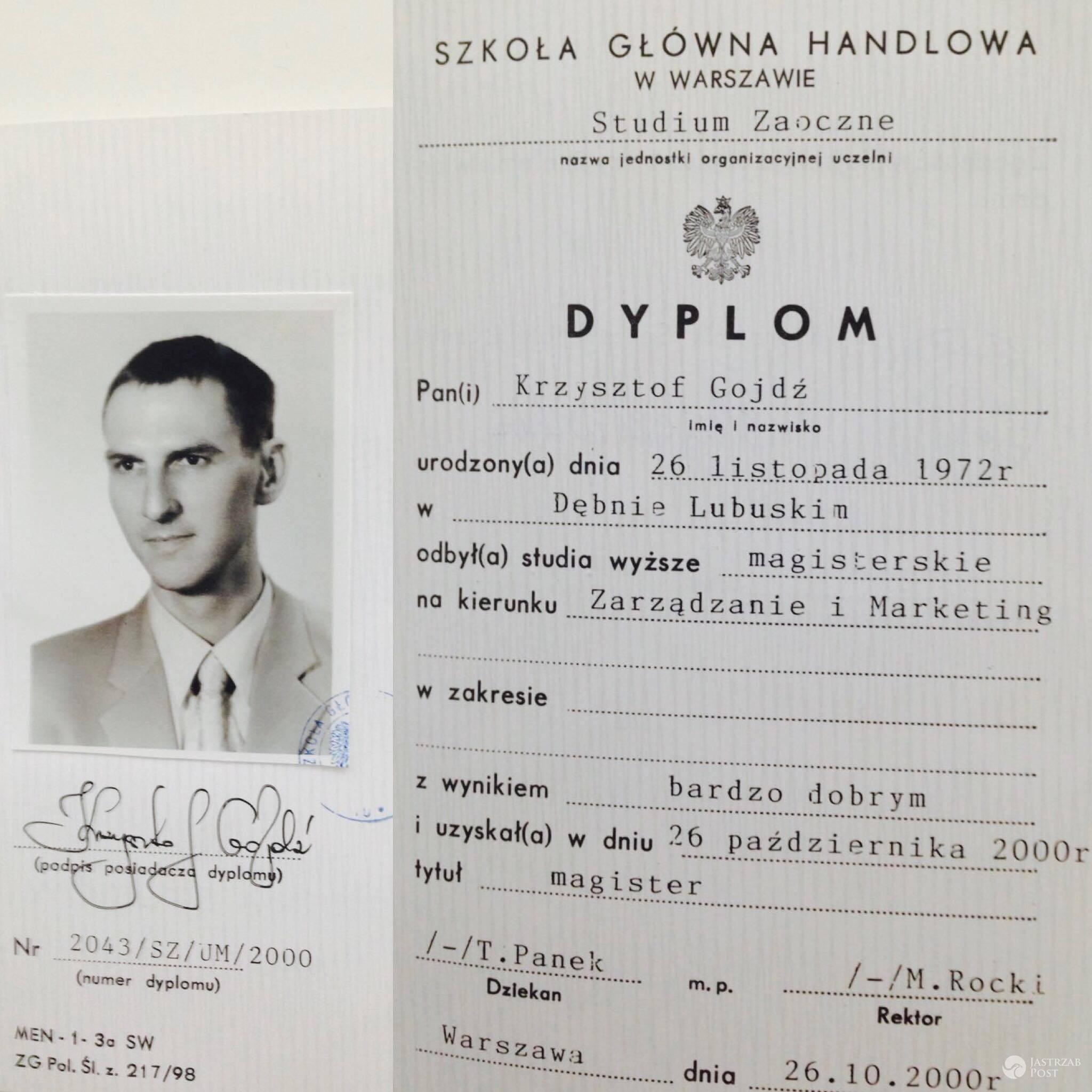 Dyplom Krzysztofa Gojdzia