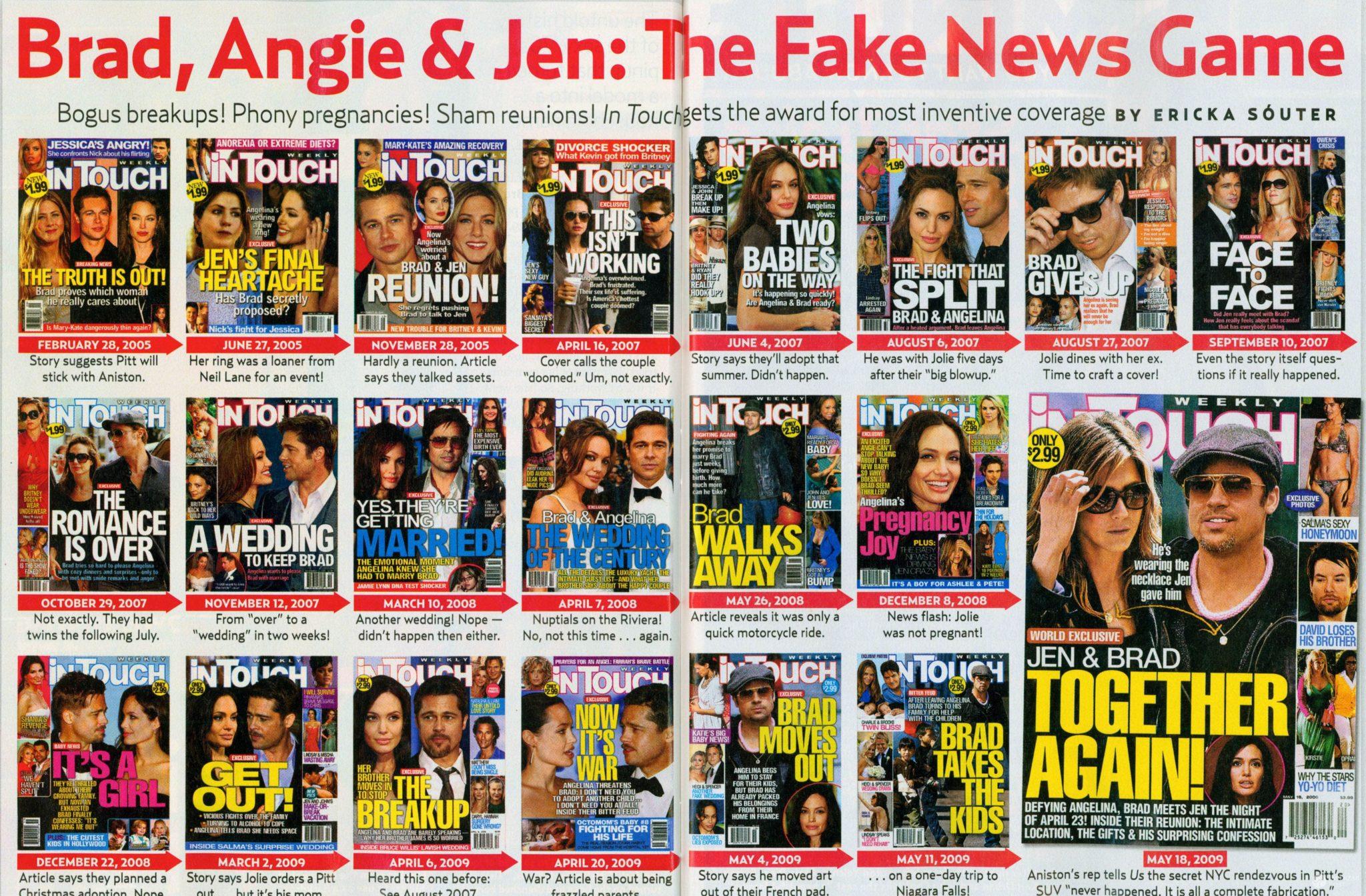 Okładki z Jennifer Aniston, Bradem Pittem i Angeliną Jolie