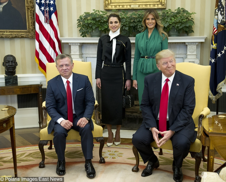 Jordańska para królewska w USA - z Donaldem Trumpem i Melanią