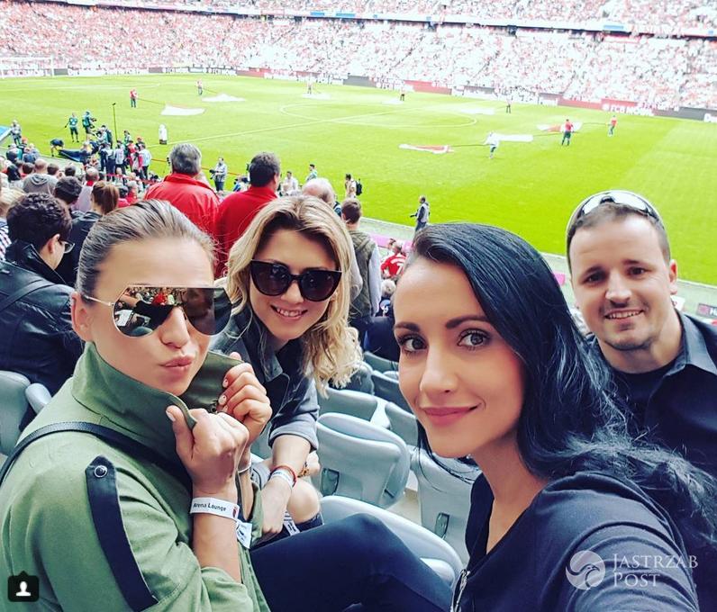 Edyta Litwniuk, Anna Lewandowska i Ola Dec na meczu Bayern Monachium