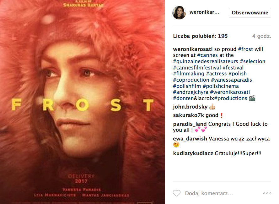 Weronika Rosati w filmie Frost - Cannes 2017