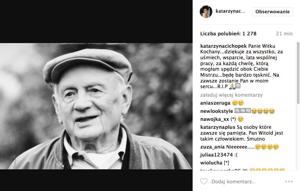 Kasia Cichopek o śmierci Witolda Pyrkosza