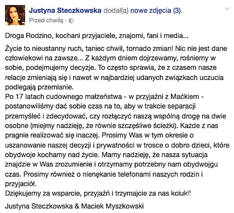 Justyna Steczkowska rozwodzi się!
