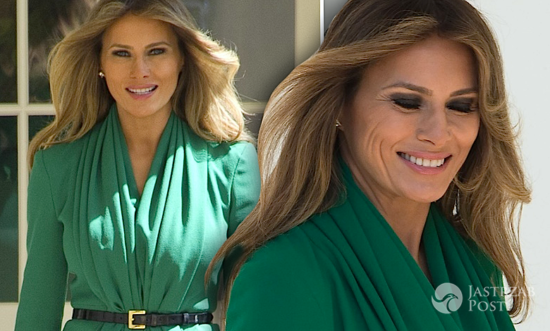 Melania Trump szmaragd sukienka kreacja