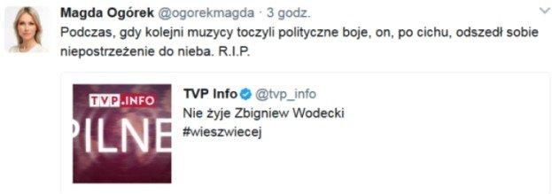 Magdalena Ogórek o śmierci Wodeckiego