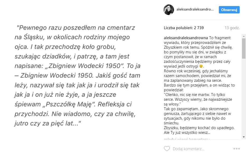 Aleksandra Kwaśniewska - wywiad ze Zbigniewem Wodeckim