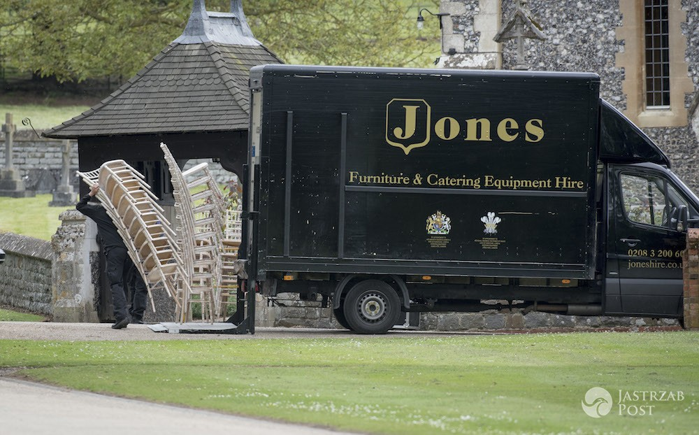 Pic shows The scene around Englefield today. Chairs being taken into the Church