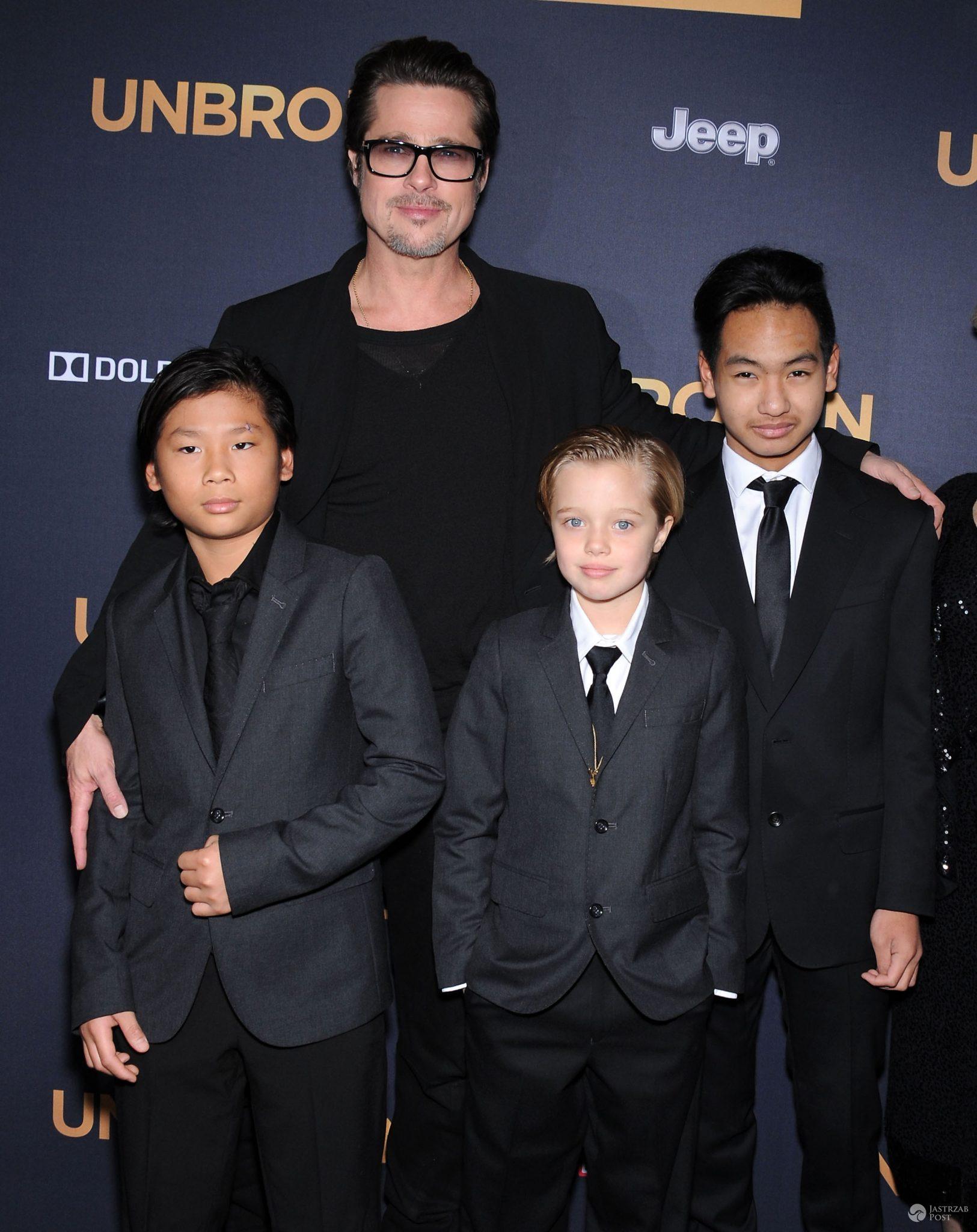 Brad Pitt z Paxem, Maddoxem i Shiloh