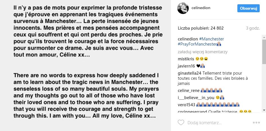 Celine Dion składa kondolencje rodzinom ofiar