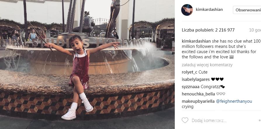 North West świętuje 100 milionów followersów Kim