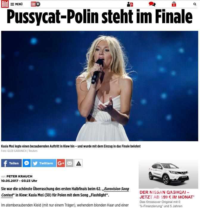 Niemiecki BILD o Kasi Moś na Eurowizji 2017