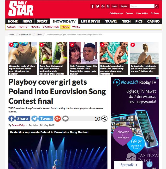 Daily Star o Kasi Moś na Eurowizji 2017