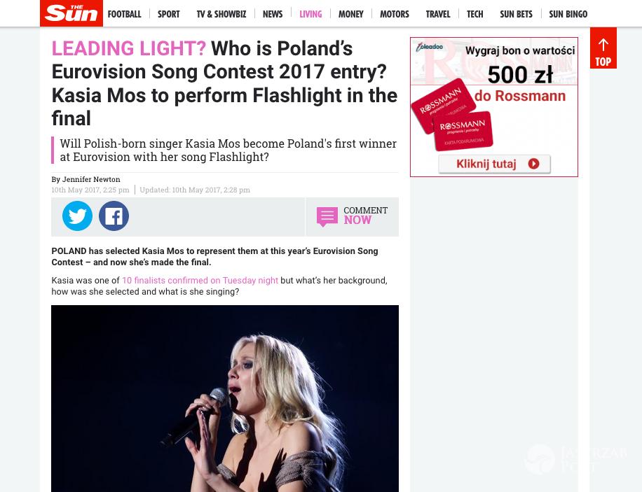 The Sun o Kasi Moś na Eurowizji 2017