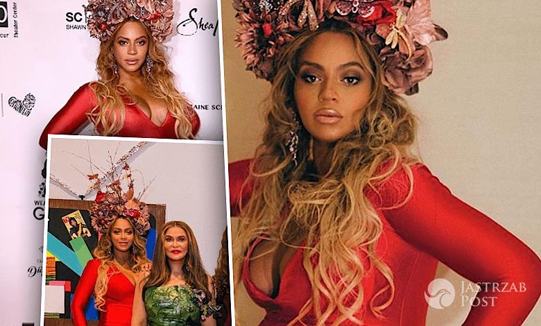 Beyonce w ciąży w czerwonej sukience
