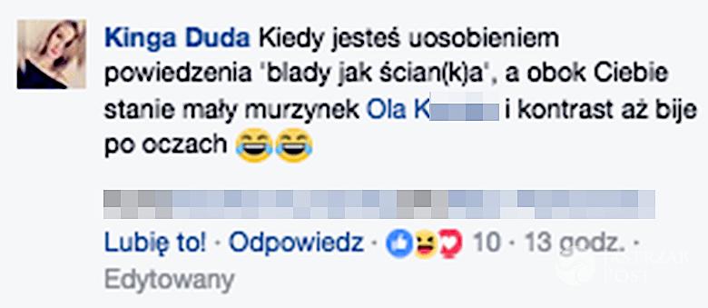 """Kinga Duda o """"małym murzyku"""""""