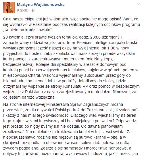 Martyna Wojciechowska oświadczenie na FB