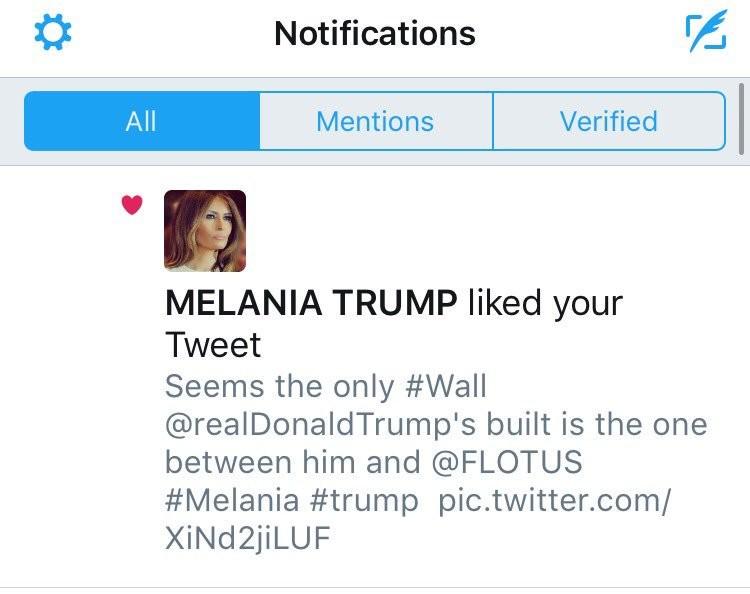 Melania Trump polubiła tweeta