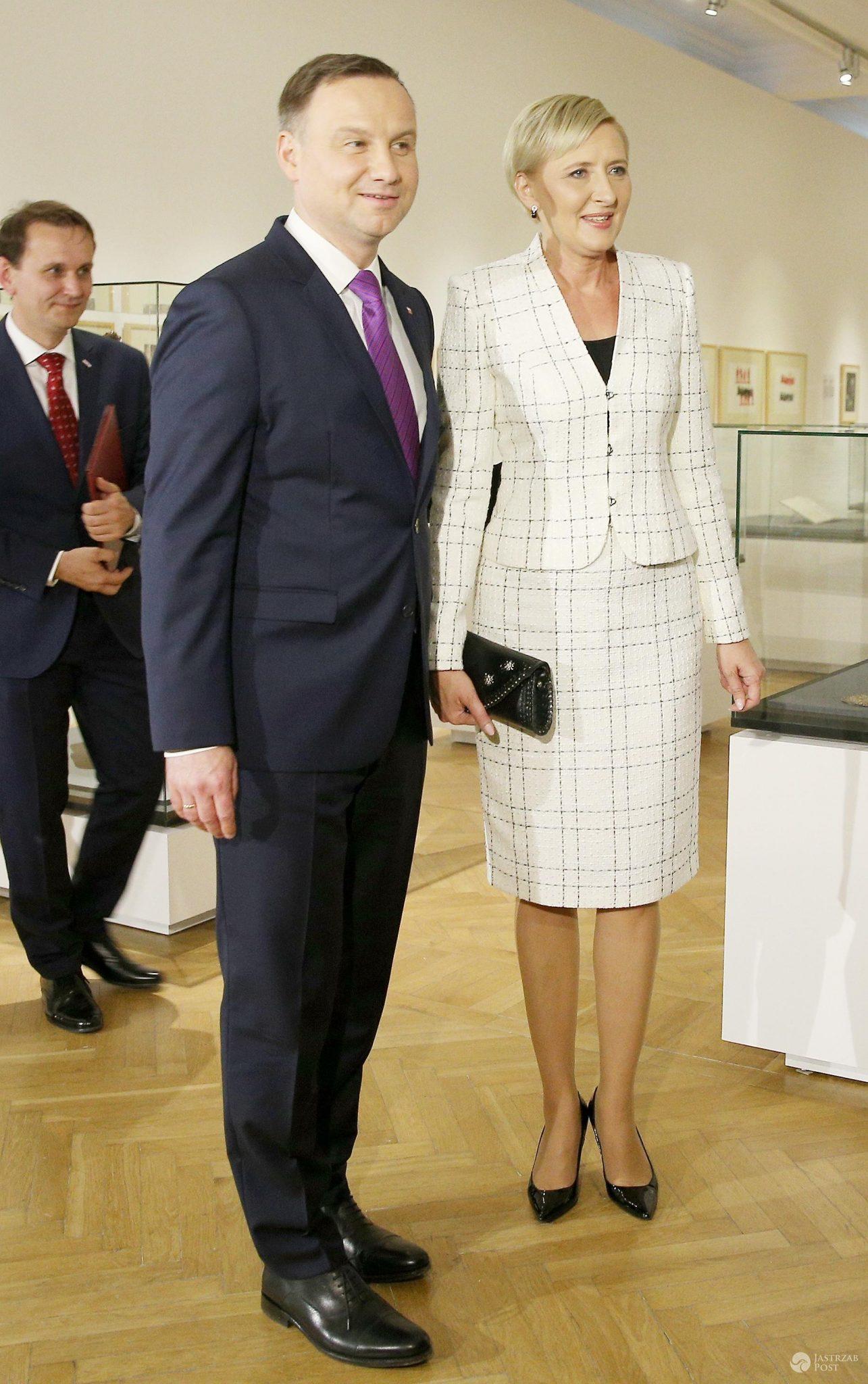 Andrzej Duda z żoną Agatą Kornhauser-Duda w Muzeum Narodowym w Krakowie na otwarciu wystawy Dziedzictwo