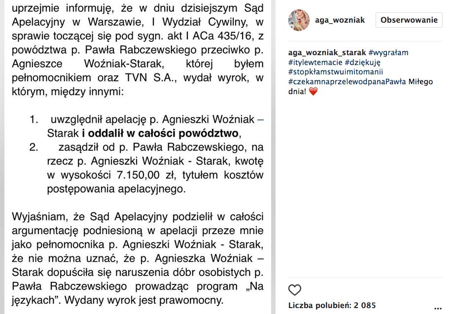 Agnieszka Woźniak-Starak wygrała proces z rodzicami Dody