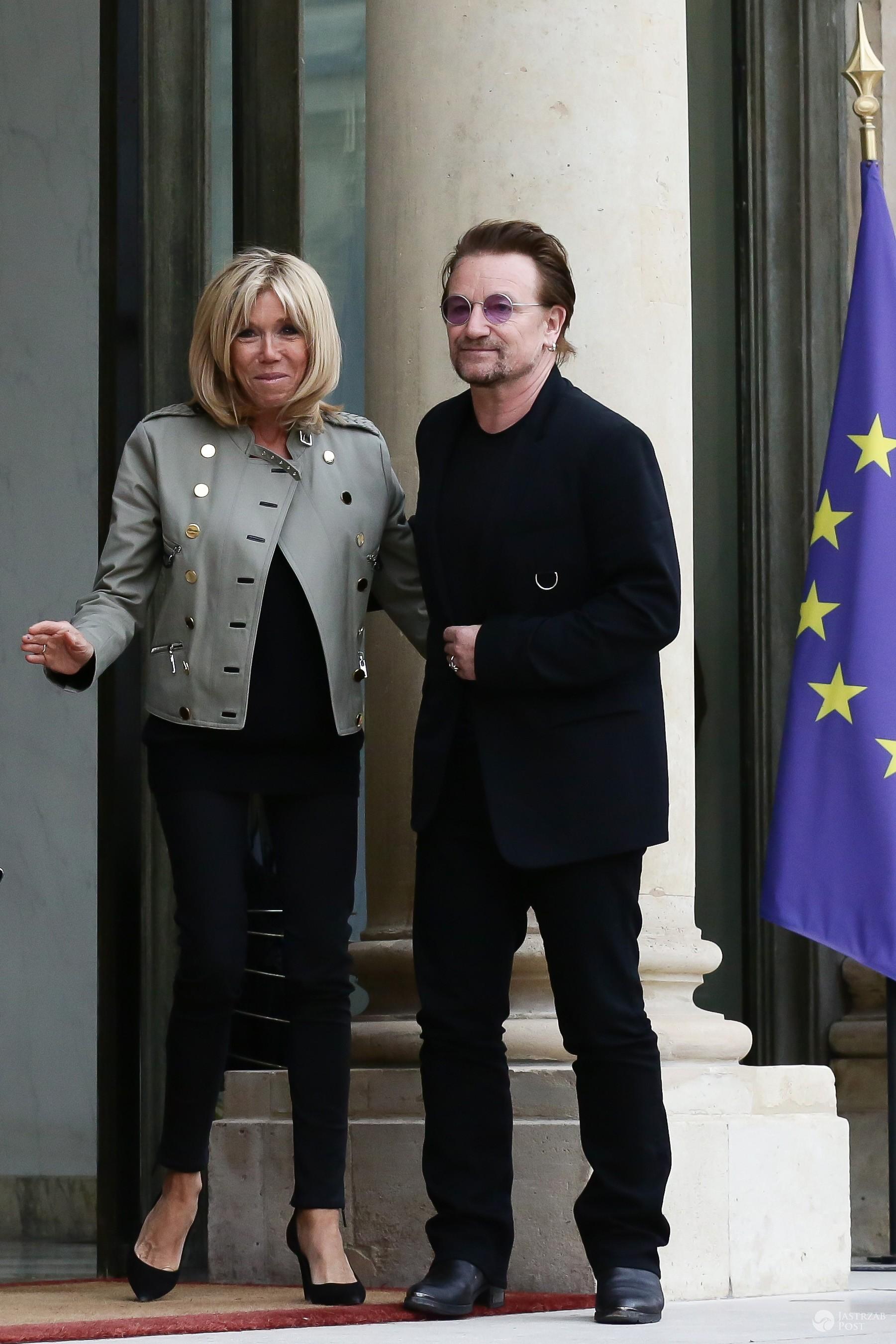 Stylizacja Brigitte Macron na spotkaniu z Bono