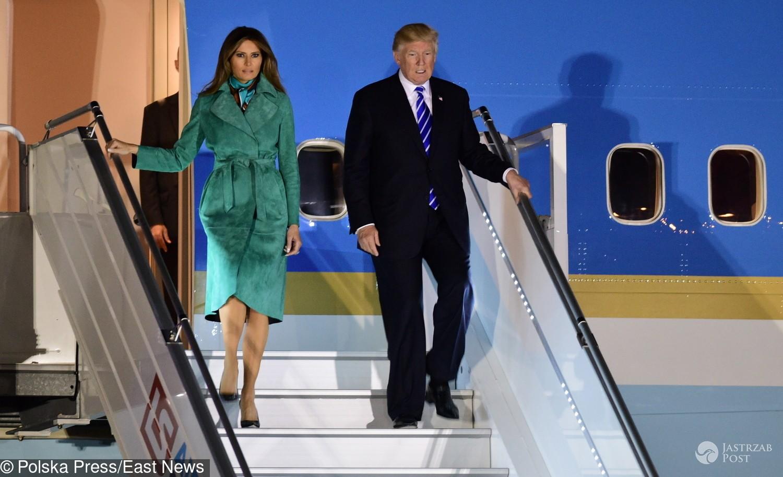 Melania i Donald Trump w Polsce na lotnisku