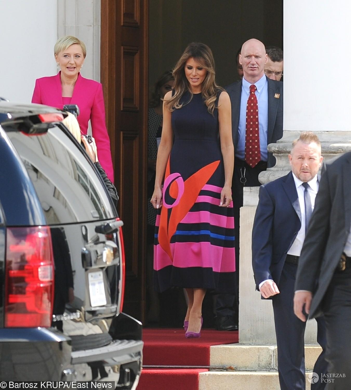 Melania Trump - kreacja na spotkaniu z Agatą Dudą