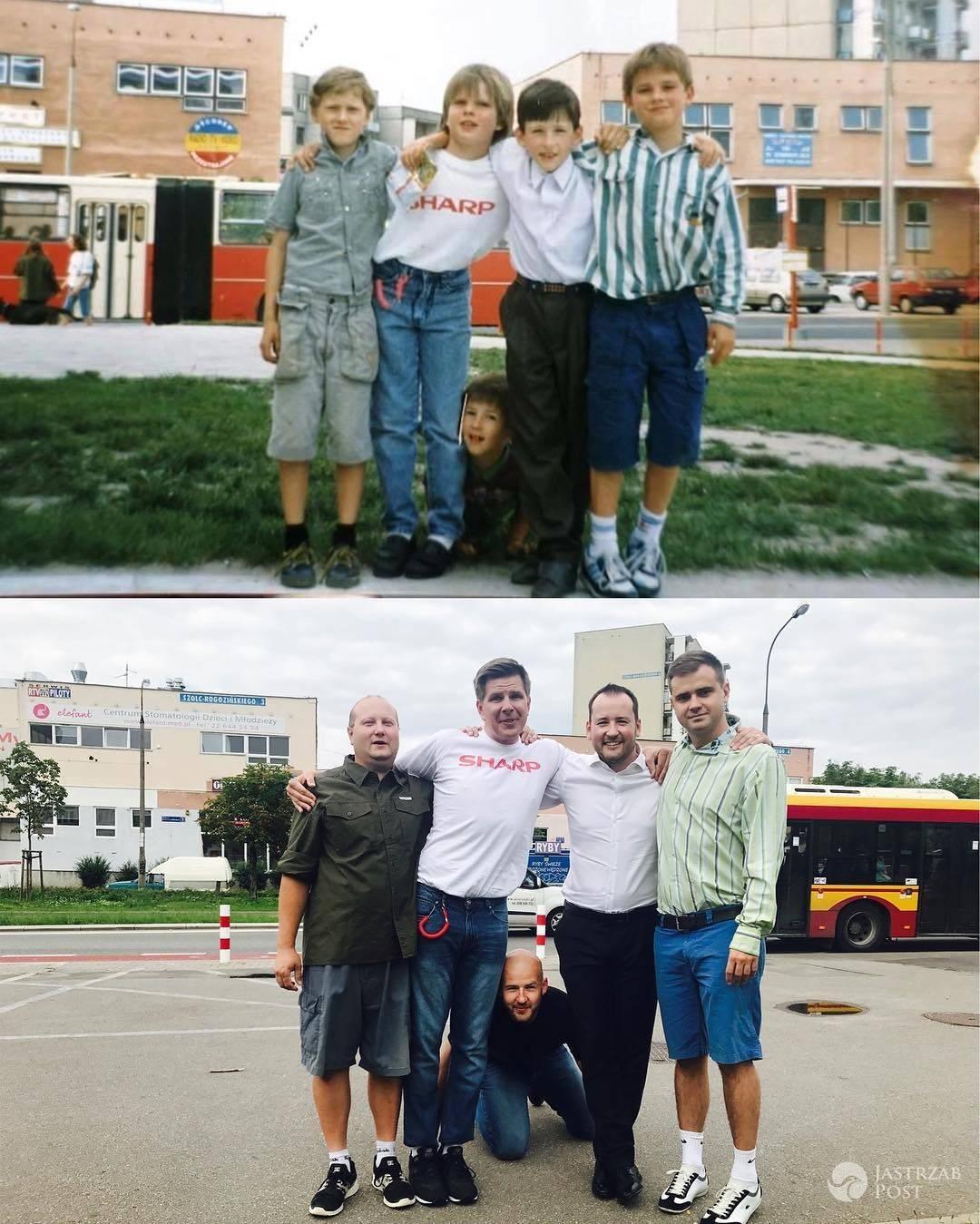 Filip Chajzer odtworzył swoje zdjęcie sprzed lat z tymi samymi kolegami