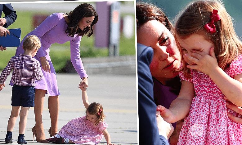 Księżniczka Charlotte na lotnisku upadła
